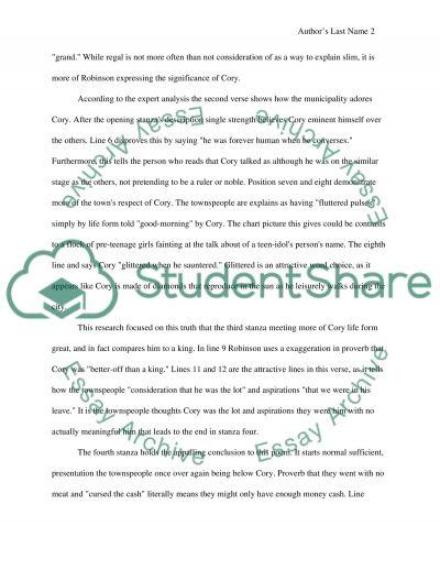 Richard Cory by Edwin Arlington Robinson essay example