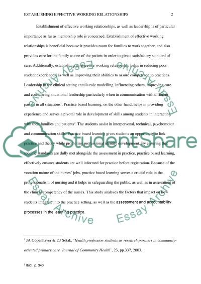Establishing Effective Working Relationships essay example