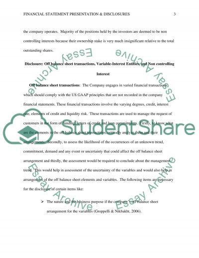 Financial statement presentation and disclosures essay example