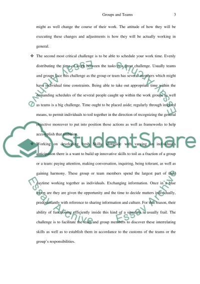 Addressing Challenges of Groups and Teams essay example