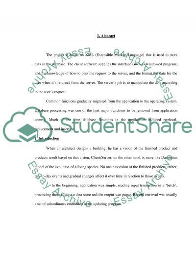 Extensible Markup Languag essay example