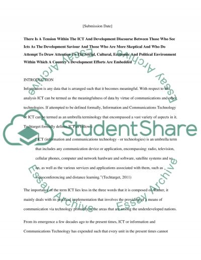ICT development essay example