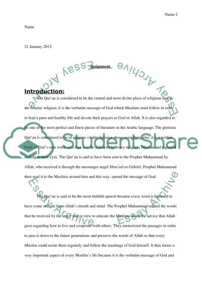 Importance of The Glorious Quran essay example