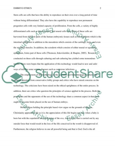 Embryo Ethics Essay essay example