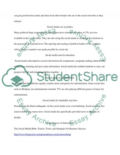 Social Media essay example