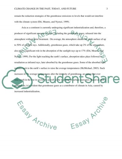 Climate change in the past, today and future essay example