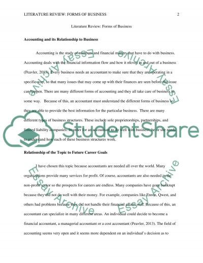 Literature Review - Forms of Business Essay example