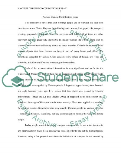 Ancient Chinese Contributions Essay essay example
