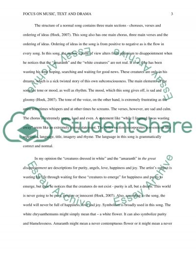 Focus on music, text and drama Essay example