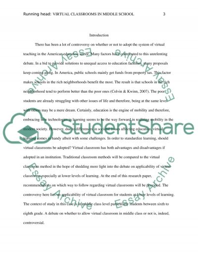 Controversy about Virtual Classrooms in Middle School essay example