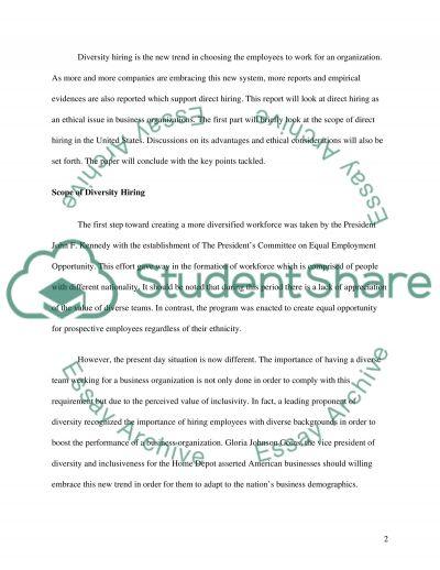 Diversity Hiring essay example