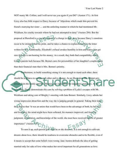 Pride and Prejudice by Jane Austen essay