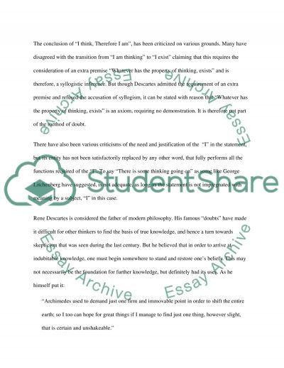 I Think, Therefore I am Essay example