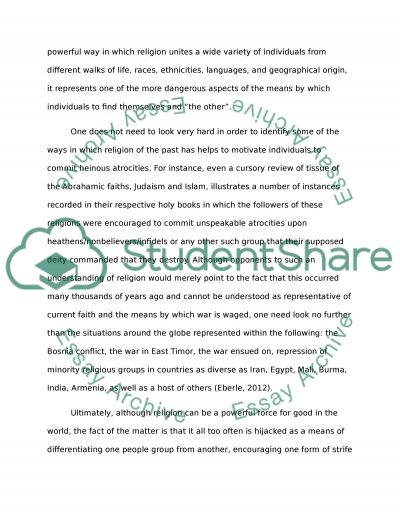 Religion is the Cause of War essay example