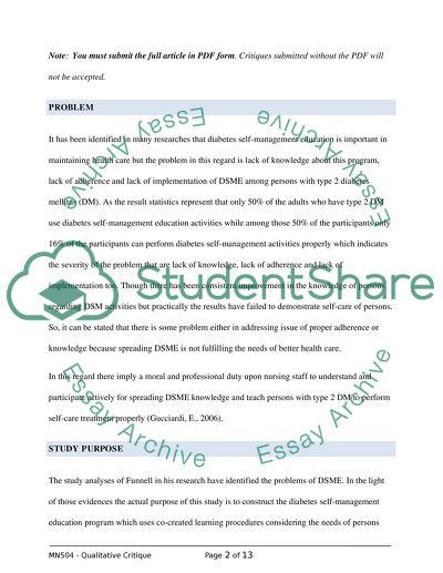 Qualitative Research Critique Essay Example - Essay Writing Top