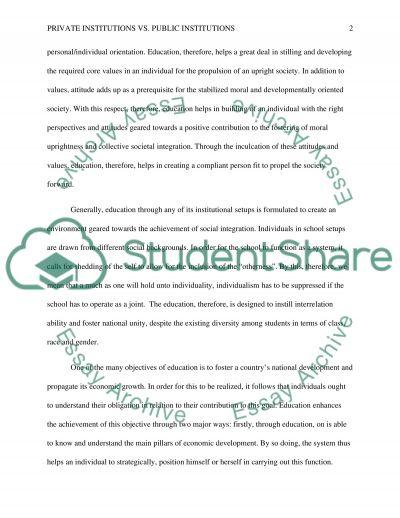 Private Institutions vs. Public Institutions essay example