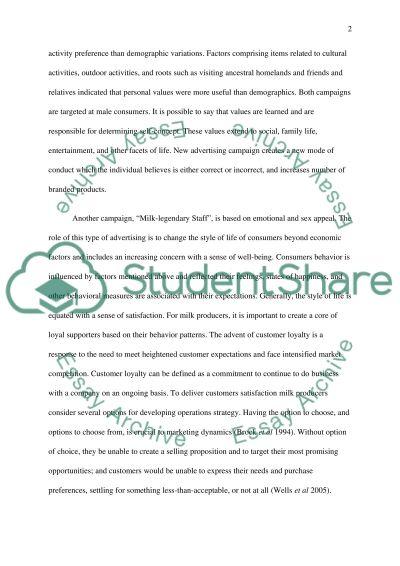 Consumer Behaviour (case study milk) essay example