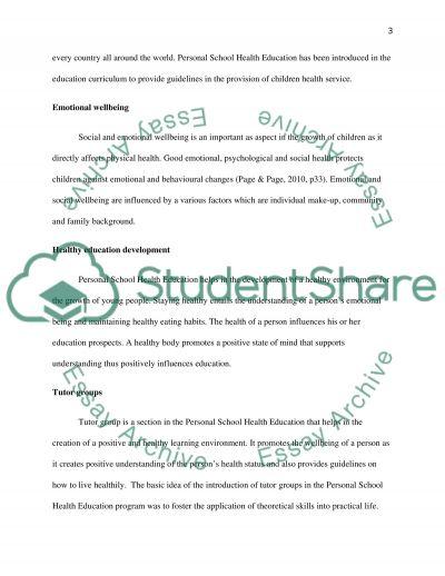 Personal School Health Education School essay example