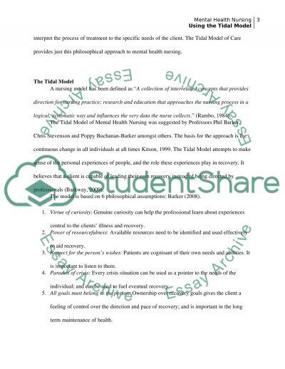 Using of Tidal Model of Mental Health Nursing essay example
