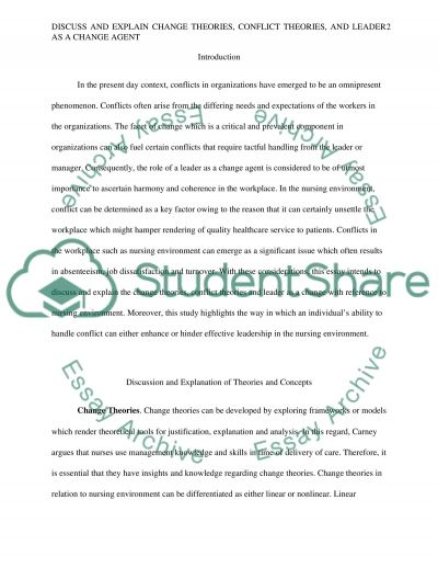 Change theories, conflict theories, and leader as a change agent Essay example