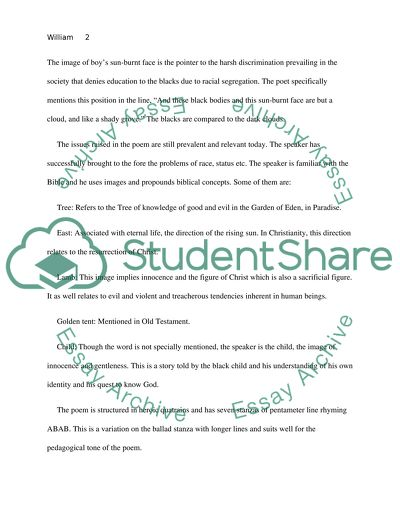 William Blakes Poem The Little Black Boy Essay Example  Topics And  William Blakes Poem The Little Black Boy Graduating From High School Essay also What Is A Thesis Of An Essay  Report Writing Pay