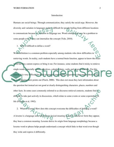 Work Shop Activity Words And Words Formation Essay