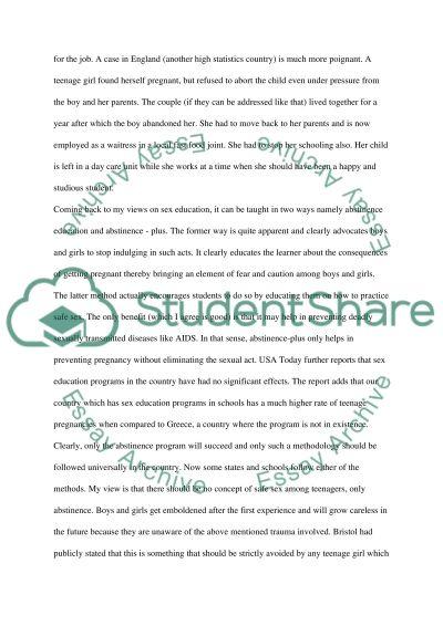 Sex Education Speech/Presentation essay example