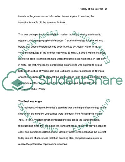 History of the Internet Essay Example | Topics and Well