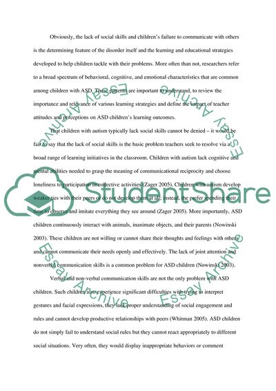 Problems With Attention Not Autism >> Improving Responses Of Students With Autism Research Paper
