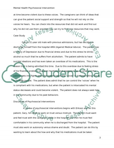 Mental Health psychosocial intervention assignment essay example
