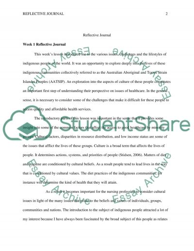 Reflective Journal essay example