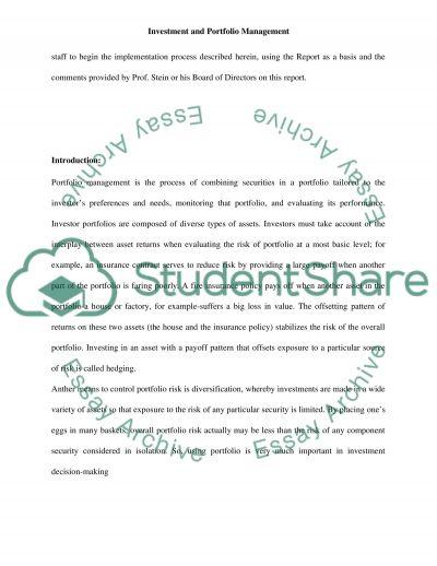 Investment and Portfolio Managment essay example