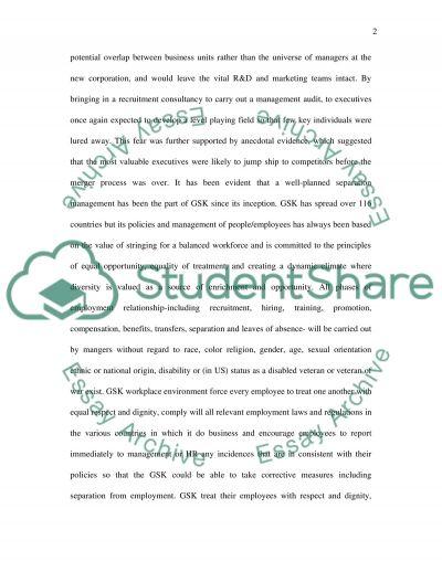 Separation Management in GlaxoSmithkline essay example