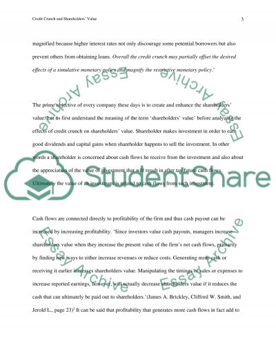 Credit Crunch and Shareholders Value essay example