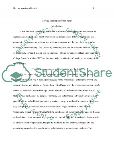 Service Learning Reflection Paper: GIFT essay example