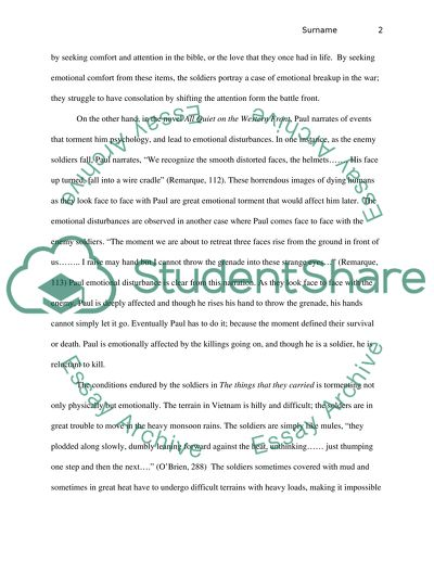 High School Entrance Essay Comparison Essay Between All Quiet On The Western Front And The Things They  Carried English As A Second Language Essay also English Essay Websites Comparison Essay Between All Quiet On The Western Front And The Things Term Papers And Essays