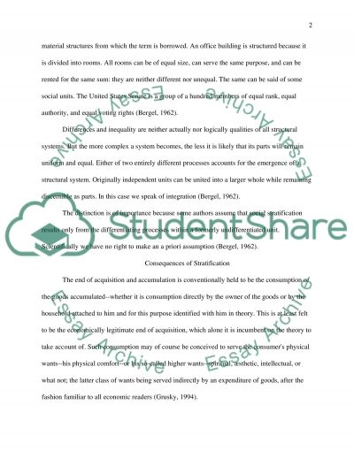 The Consequences of Stratification Essay example