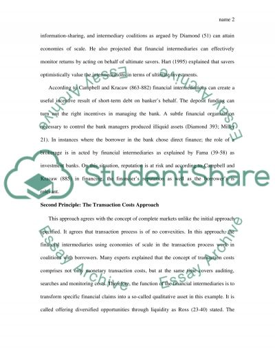 The Theories of Financial Intermediation essay example