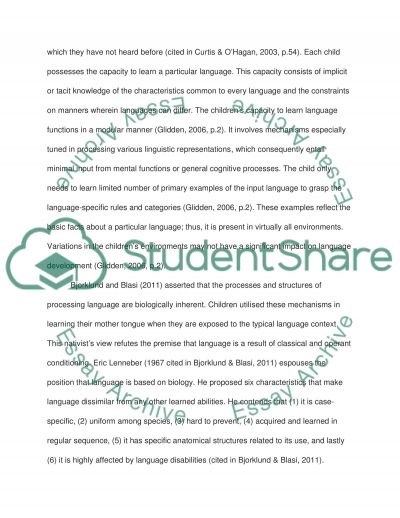 Is Language Development an Innately or Environmentally Guided Process essay example