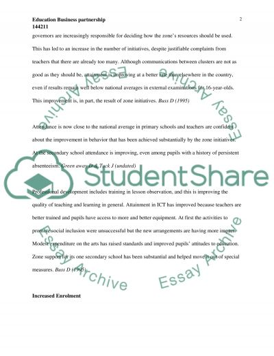 Education Business Partnership essay example