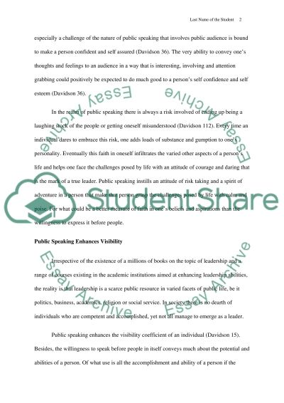 Public Speaking and Success Term Paper example
