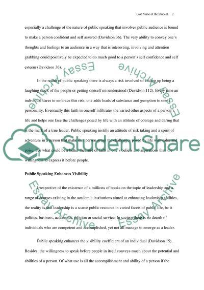 Public Speaking and Success essay example