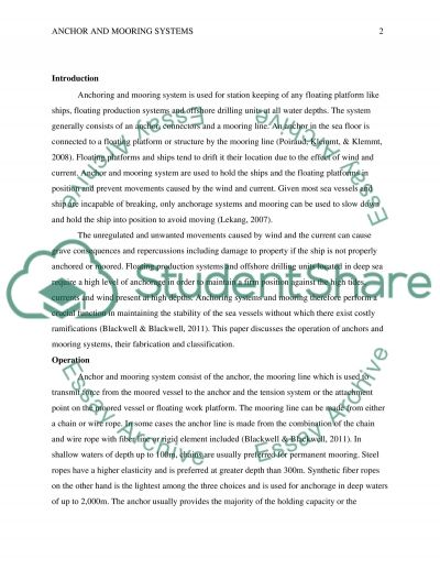 Anchor and mooring systems essay example