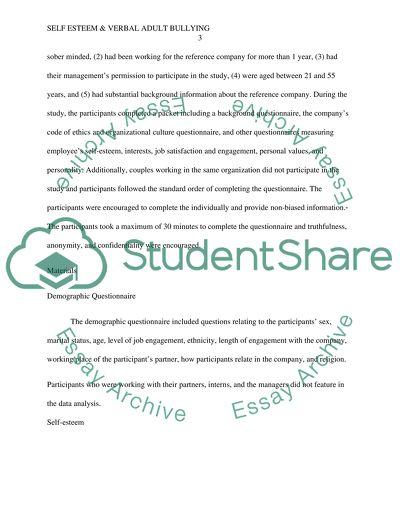 self esteem  verbal adult bullying research paper self esteem  verbal adult bullying   research paper example