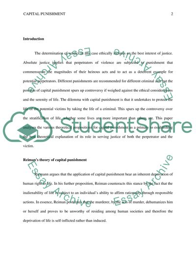 Capital Punishment Essay Example  Topics And Well Written Essays  Capital Punishment  Essay Example