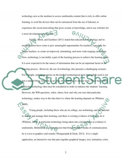 The Impact of Using Multimedia in an Online Learning Setting for College Students