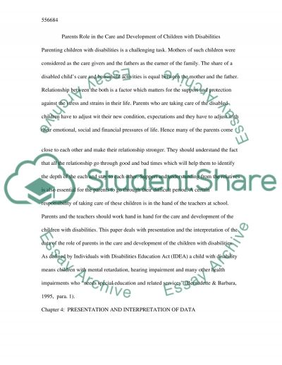 Parents Role in the Care and Development of Children with Disabilities essay example