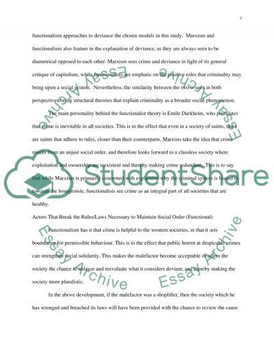Compare and contrast any two sociological approaches to the study of deviance essay example