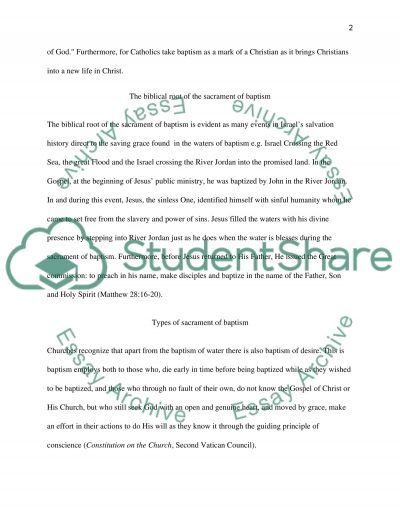 The Sacrament of Baptism essay example