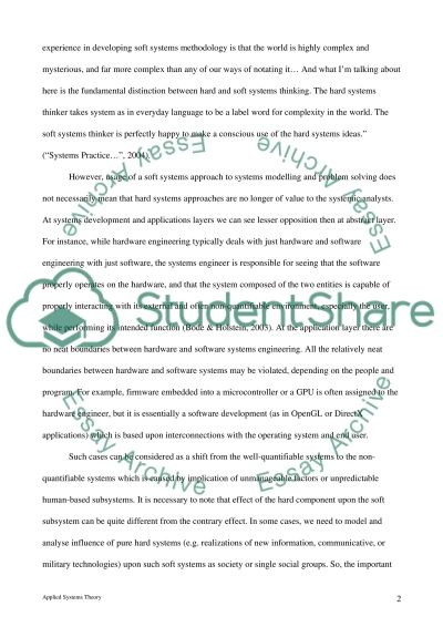 Applied Systems Theory essay example